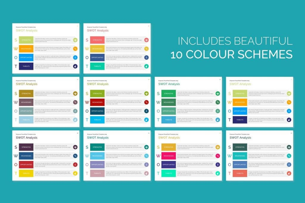 100 color schemes EMPOWER PowerPoint Template.