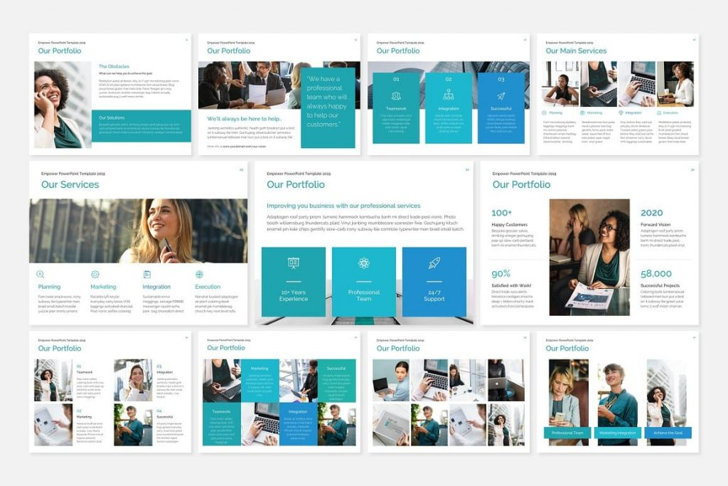 Portfolio page layouts EMPOWER PowerPoint Template.