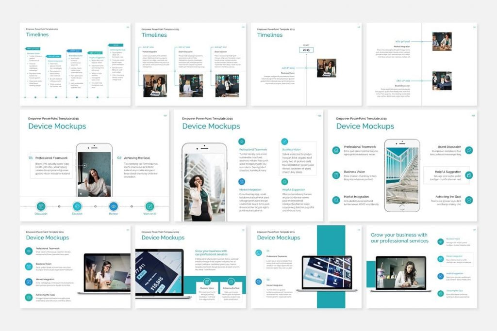 Device Mockup EMPOWER PowerPoint Template.