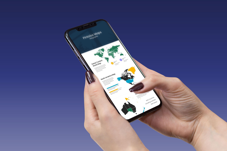 Maps Presentation: Powerpoint, Keynote, Google Slides by MasterBundles telephone preview mockup image.