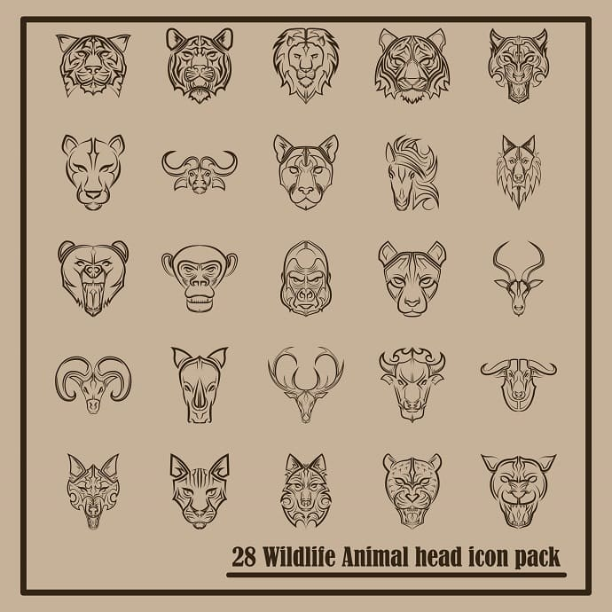 Wildlife icons set. Animal heads front view.
