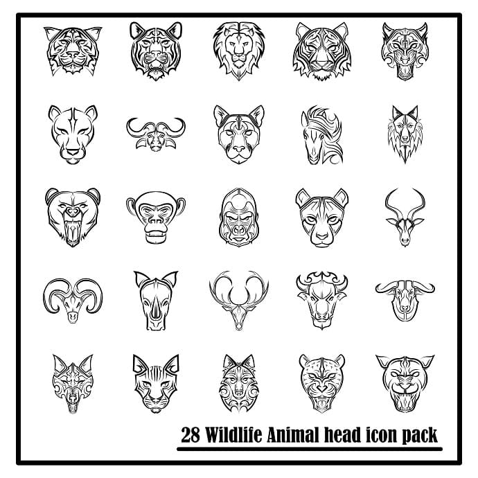 Wildlife icons set on white background. Animal heads front view.