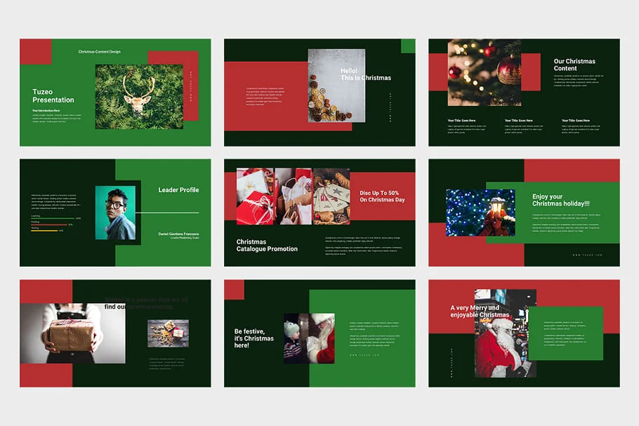 Christmas Event Powerpoint in dark colors.