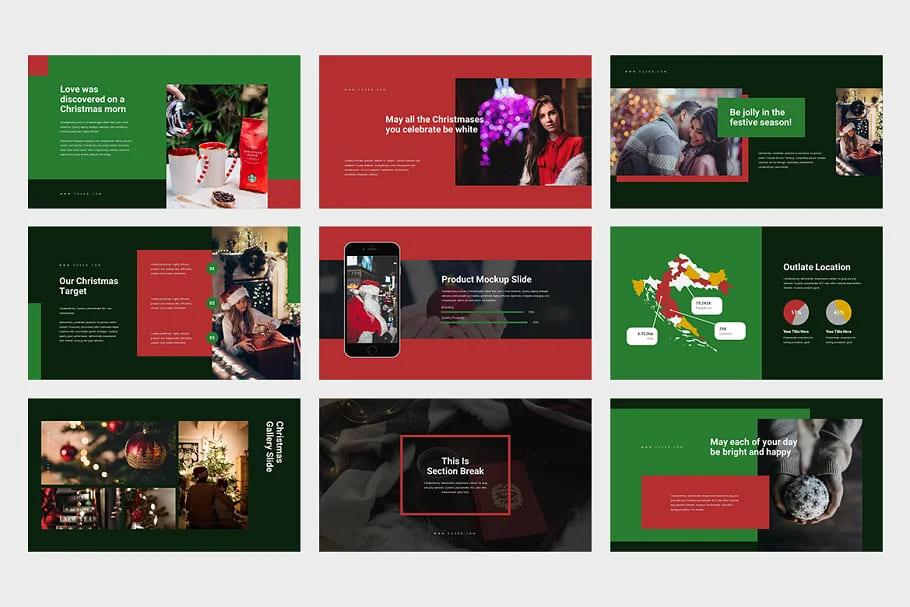9 Slides Christmas Event Powerpoint. Dark theme.
