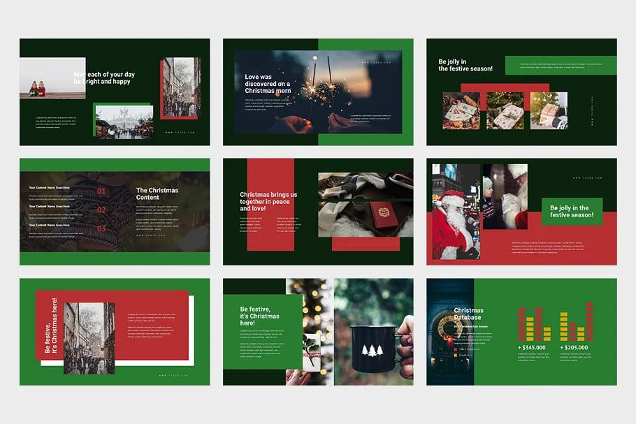 9 Slides for Christmas Event Powerpoint. Dark tones.