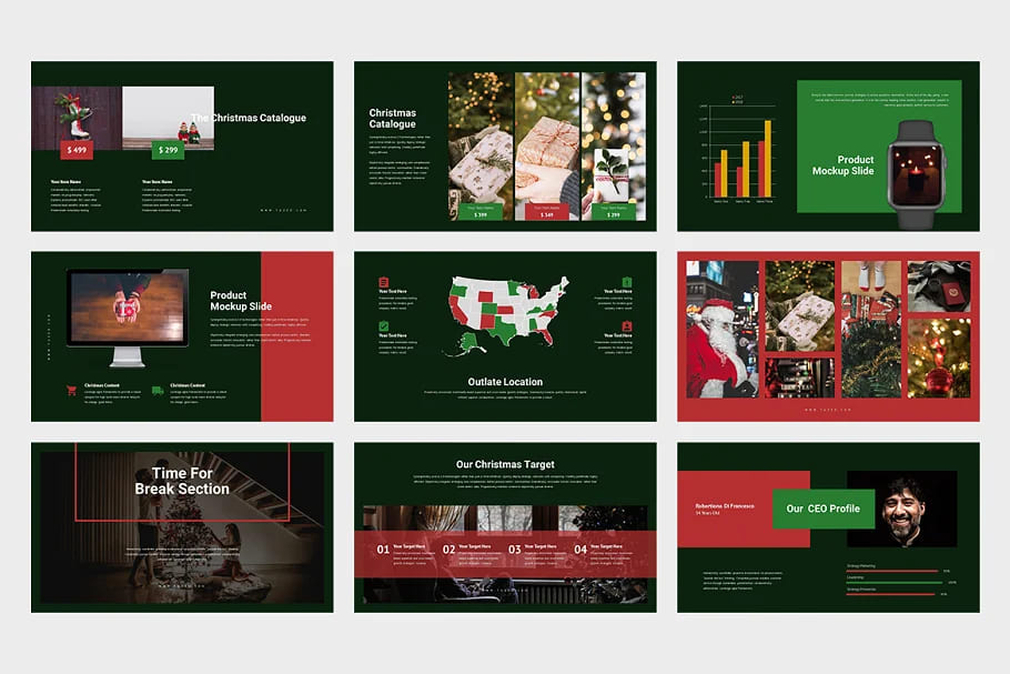 9 Slides Christmas Event Powerpoint in dark colors.