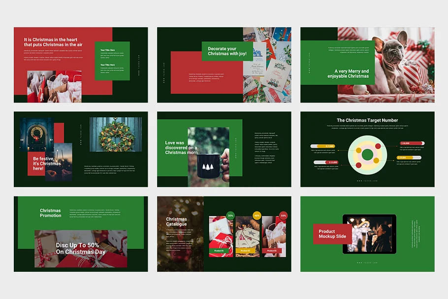 Christmas Event Powerpoint Preview. Dark theme.