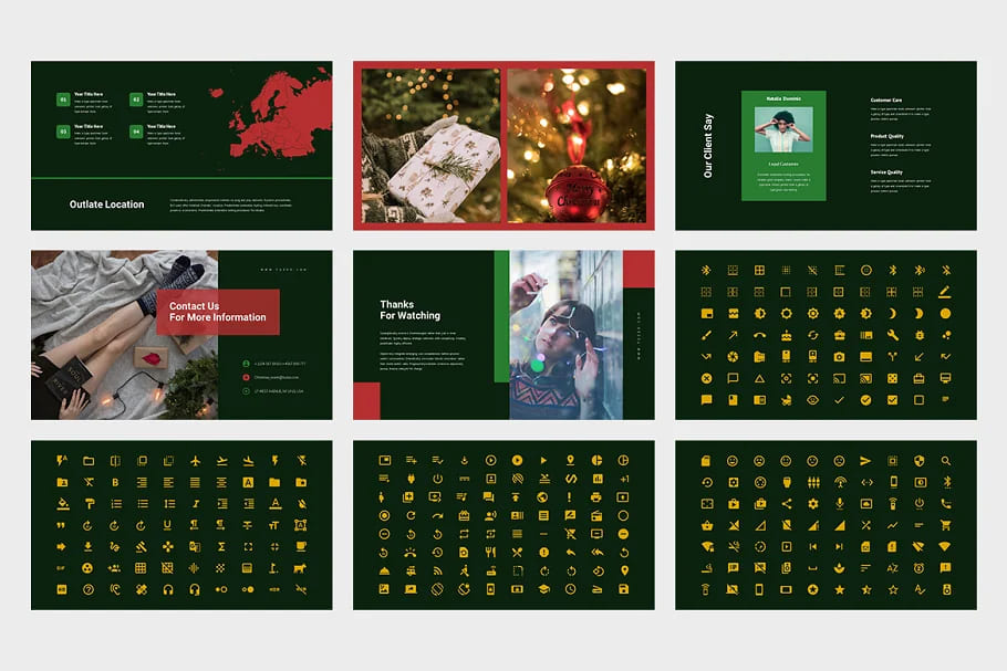 Christmas Event Powerpoint. Slides and icons dark theme.