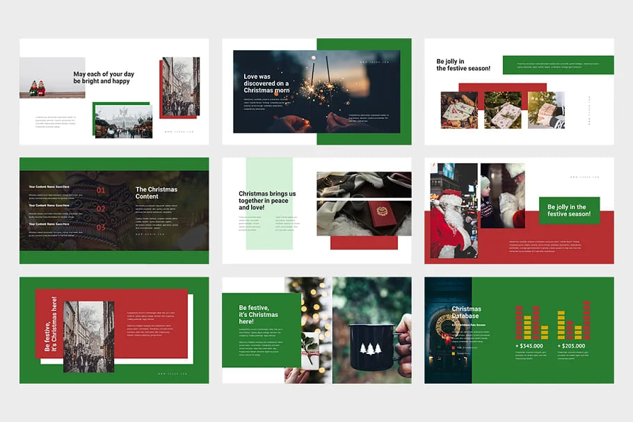 9 Slides Christmas Event Powerpoint in light colors.