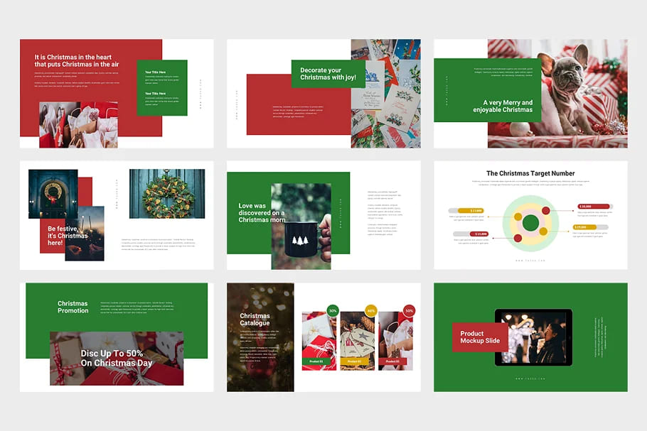 The slides for the Christmas presentation are light colored.