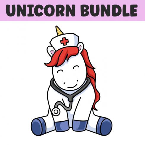 Main cover image for Unicorn Illustrations Bundle.