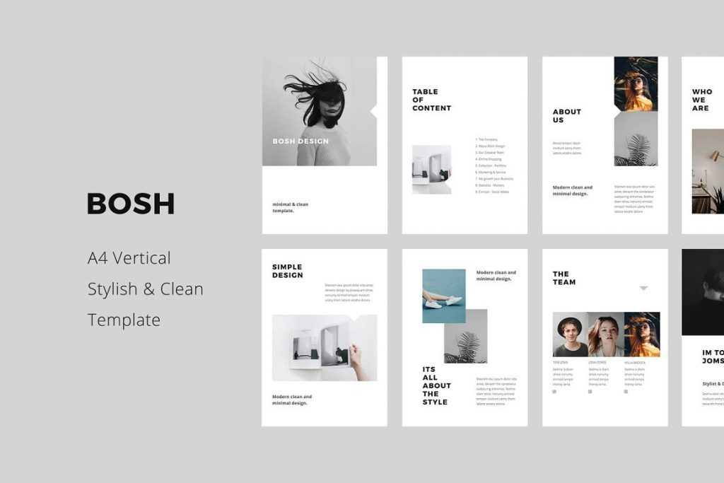 Clean and Stylish BOSH - Keynote A4 Vertical Template.
