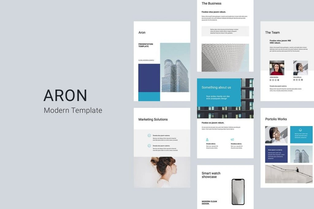 ARON - Clean and Stylish A4 Vertical Google Slides Presentation Template.