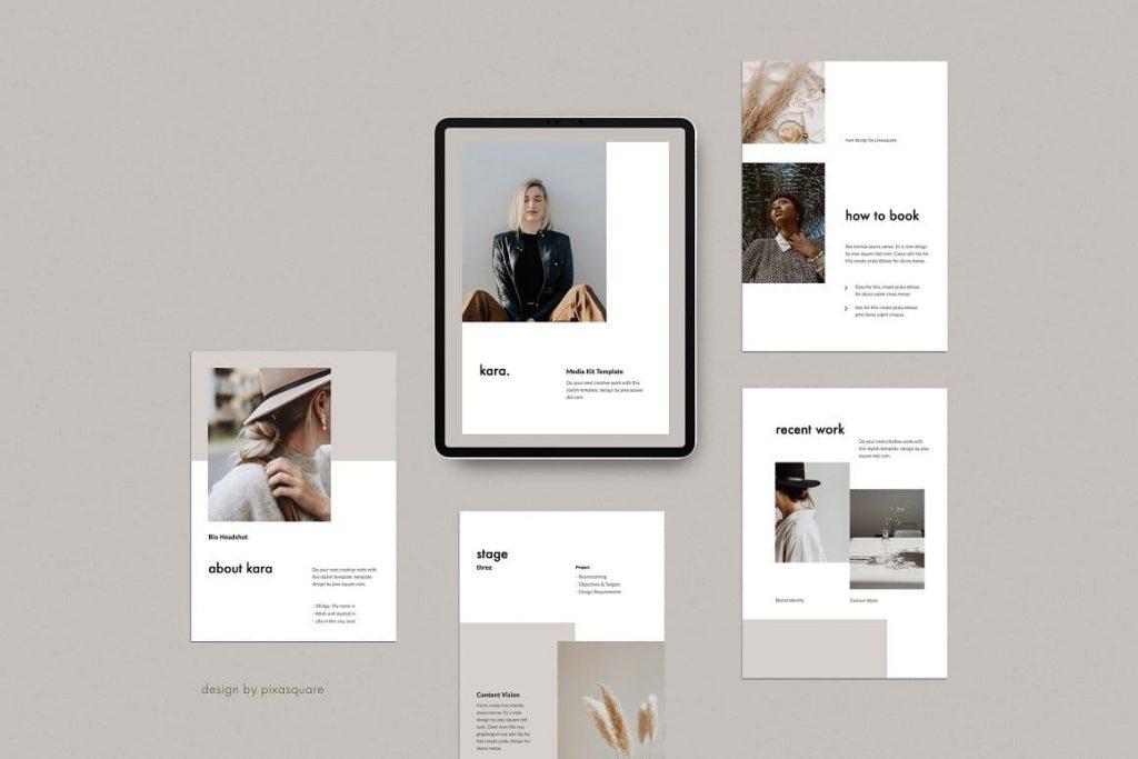 KARA - A4 Vertical Media/Press Kit Branding Powerpoint Template.