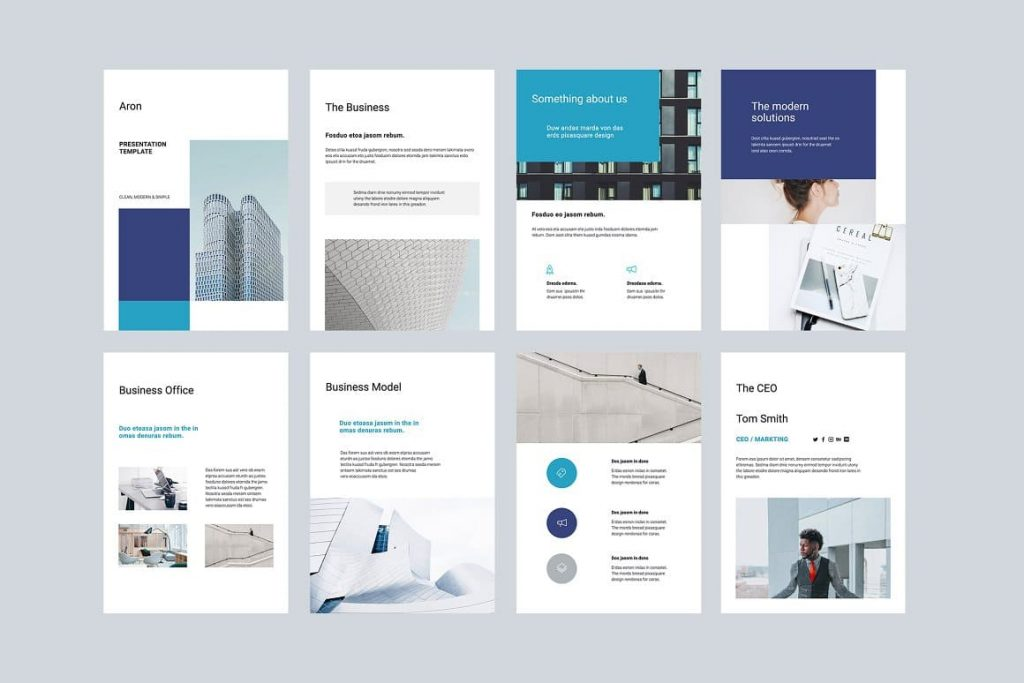 An introduction to ARON Vertical Google Slides Template.