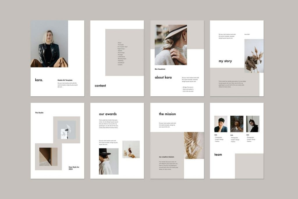38+ Unique, fully customizable slides KARA - Vertical Powerpoint Template.
