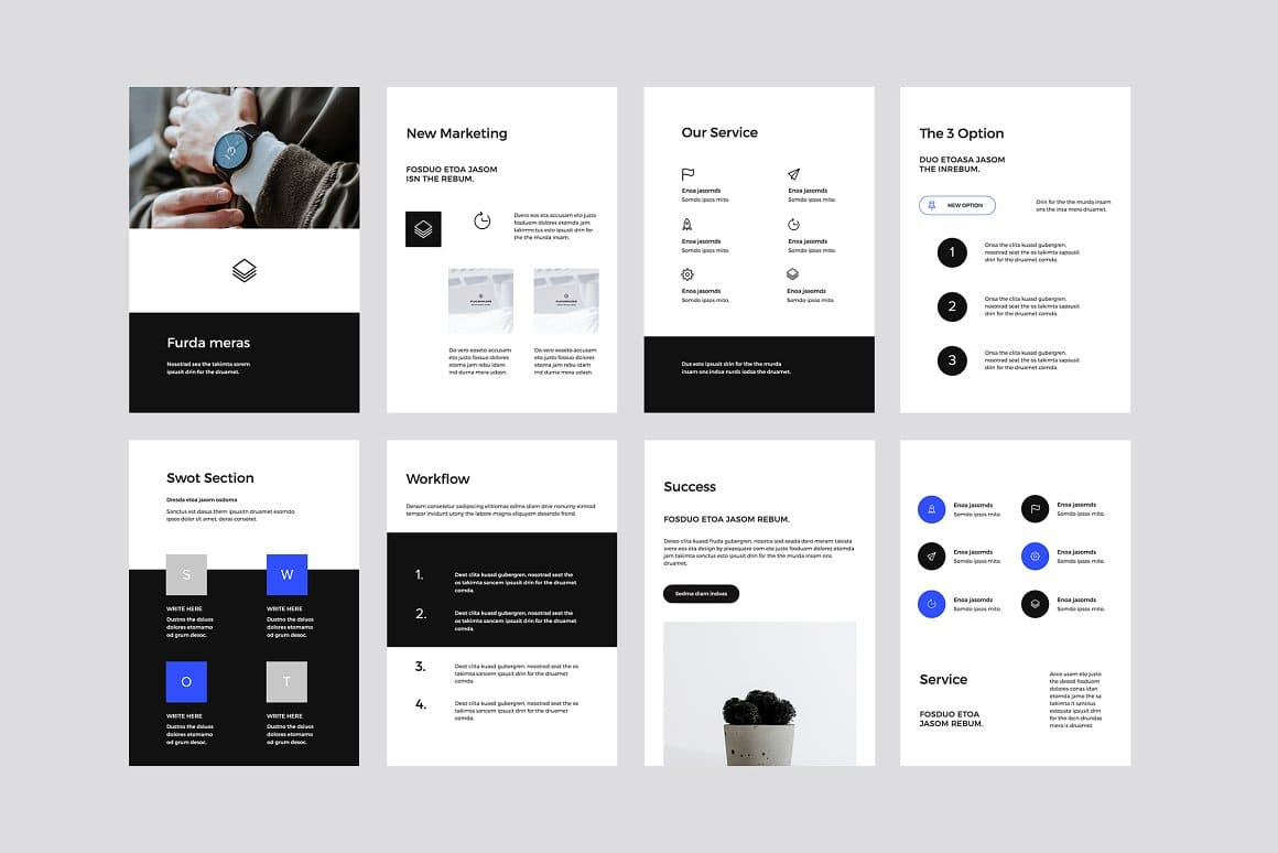 Template сreated in two colors, but on hover or click, the color changes to blue.