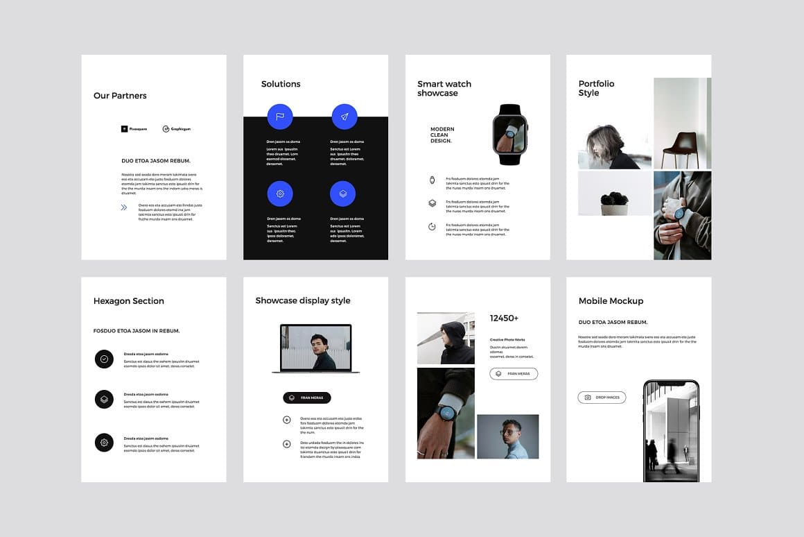 The template is in a laconic minimalist style, which allows you to use it for different areas.