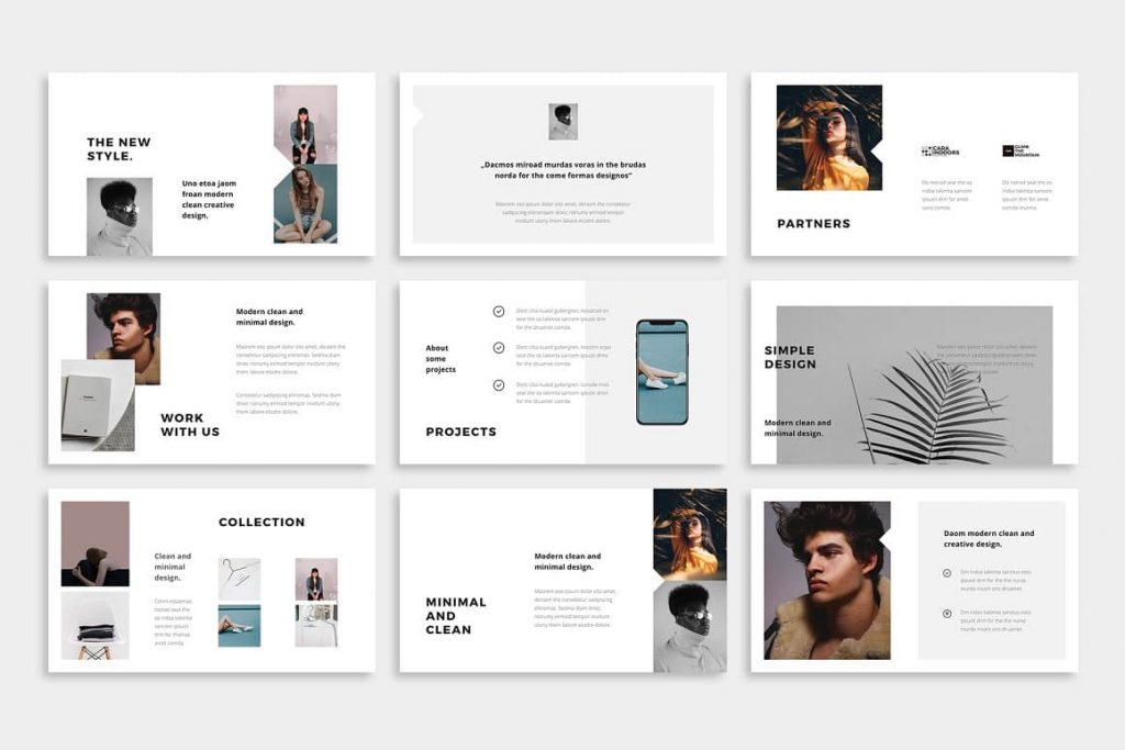 Minimal and clean BOSH - Powerpoint Template.