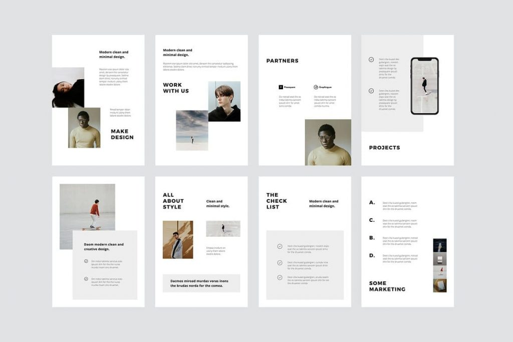 Slide Preview MODEN - Keynote A4 Vertical Template.
