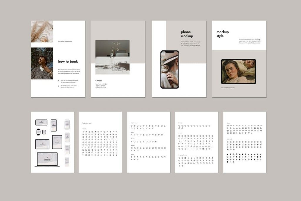 Mockups and Icons for KARA - Vertical Powerpoint Template.