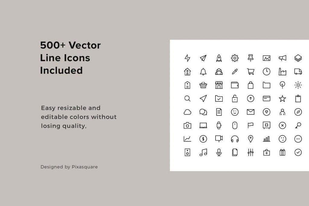 BONUS: 500+ Vector Line Icons in slides included KARA - Vertical Powerpoint Template.