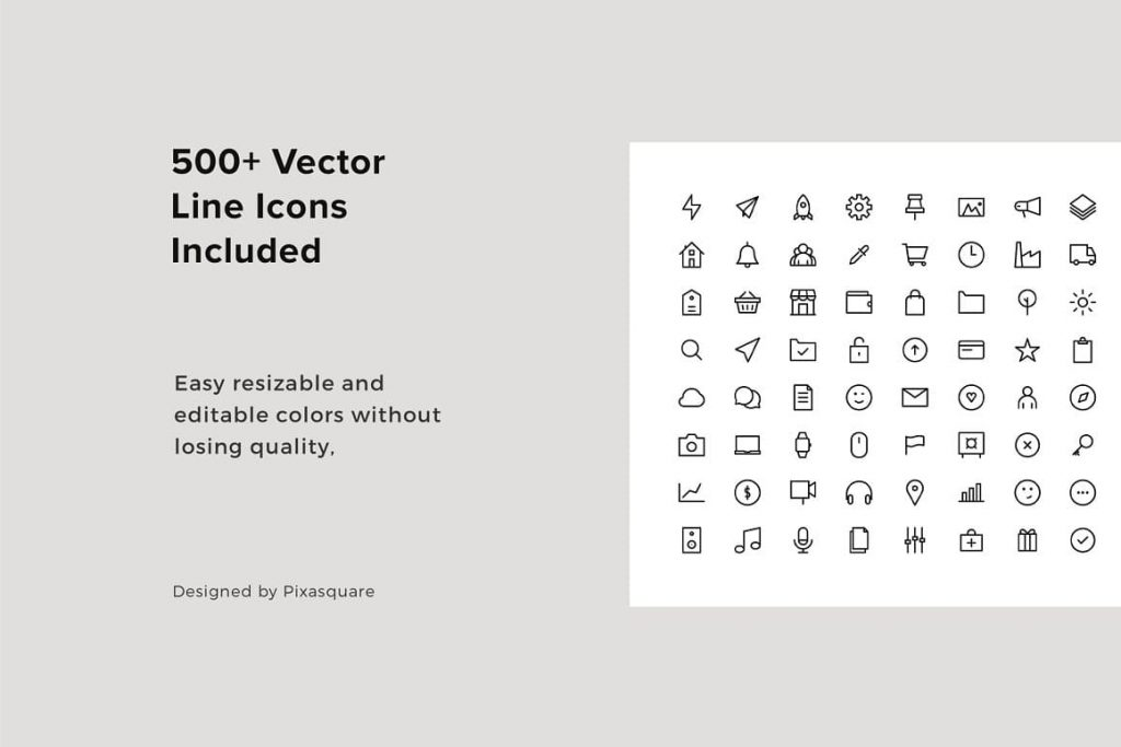 500+ Vector Line Icons in slides included BORD - Neutral Keynote Template.