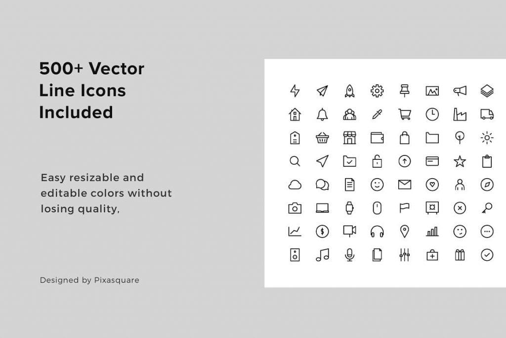 500+ Vector Line Ikons BOSCH - Keynottier A4 Vertical Template.