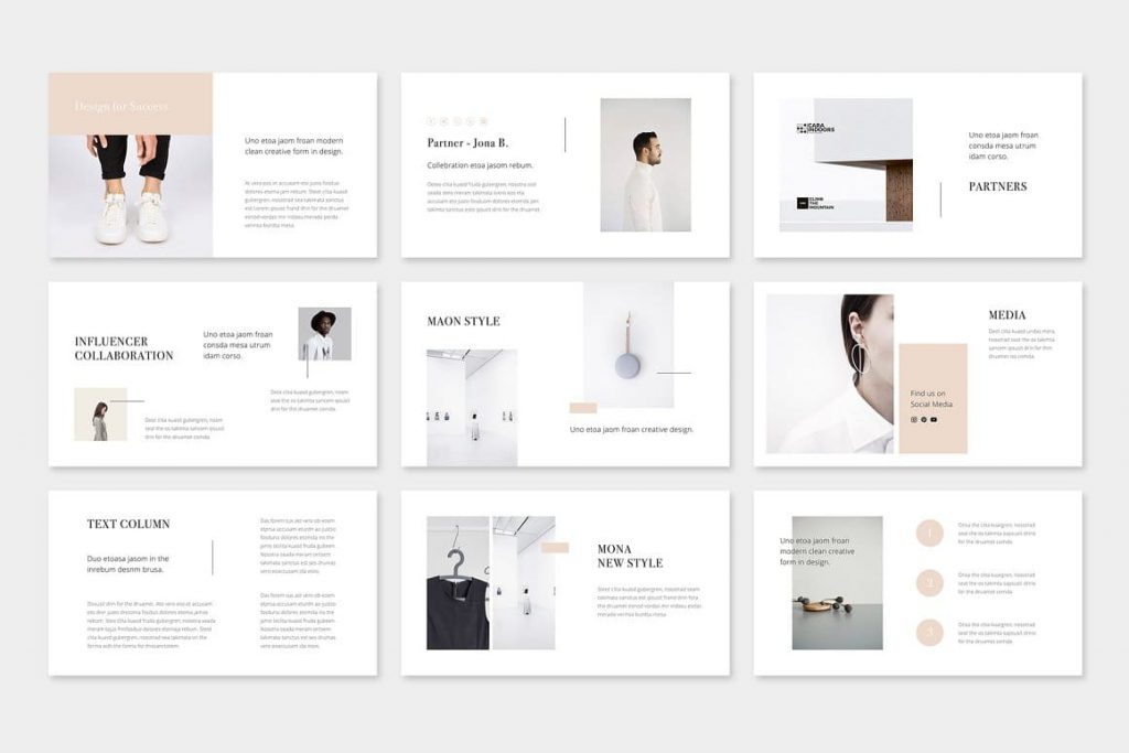 The free font MAON - Powerpoint Template is used.