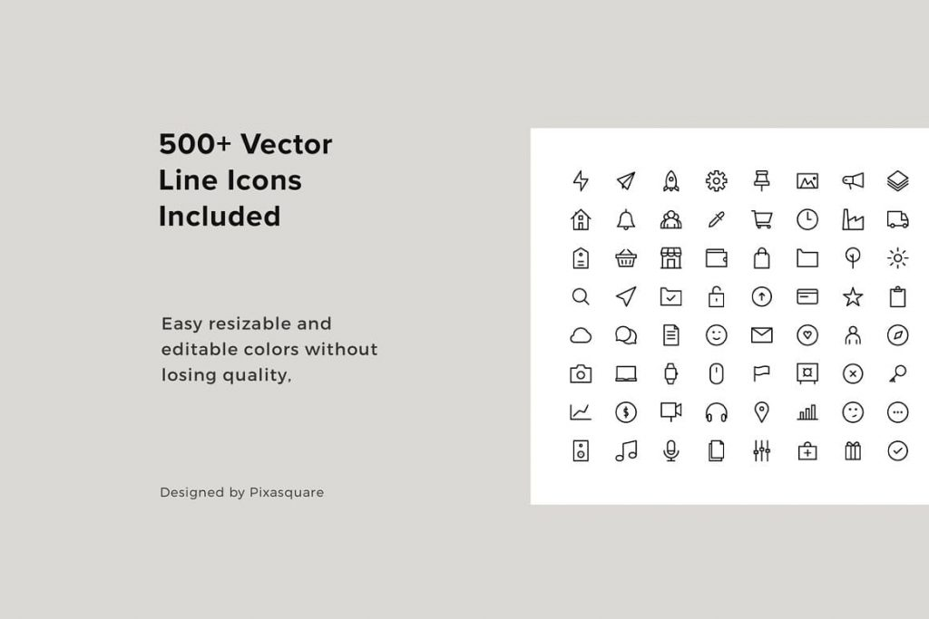 500+ vector icons in slides COSA - Vertical Keynote Template.