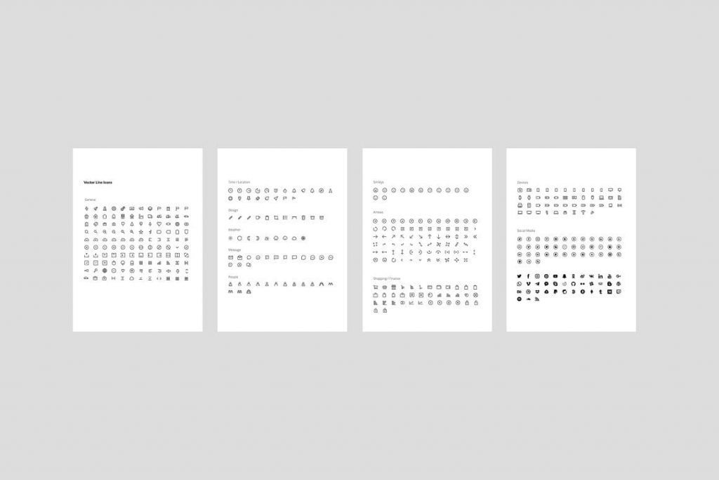 Vector Icons MOSY - Keynote A4 Vertical Template.