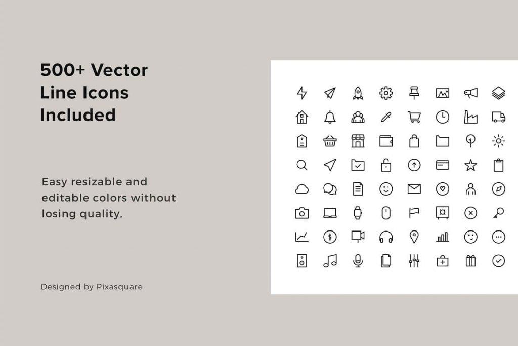 500+ Vector Line Icons in slides included Keynote Media / Press Kit Bundle.