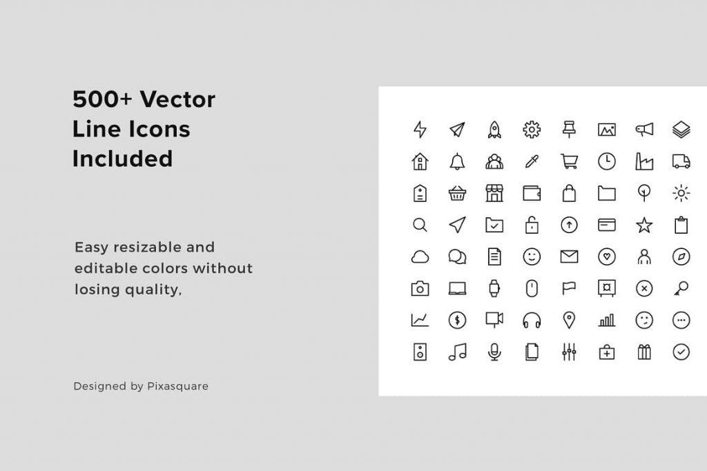BONUS: 500+ Vector Line Icons MOSY - Keynote A4 Vertical Template.