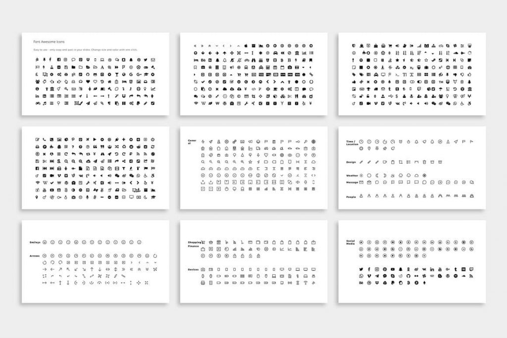 620+ FontAwesome NOYA Icons - Powerpoint Template.