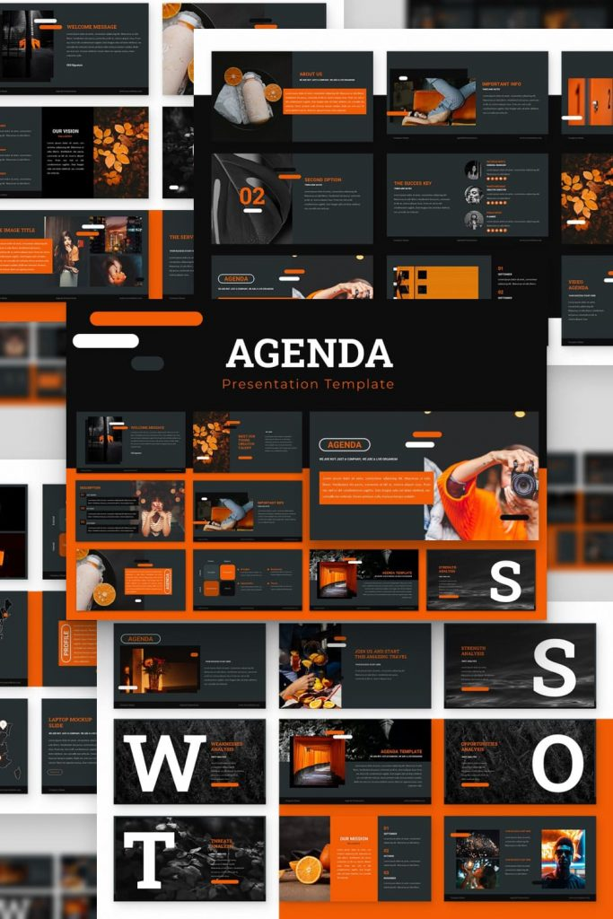 Agenda Powerpoint Presentation by MasterBundles Pinterest Collage Image.