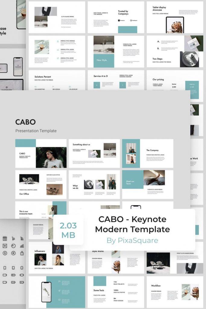 CABO - Keynote Modern Template by MasterBundles Pinterest Collage Image.