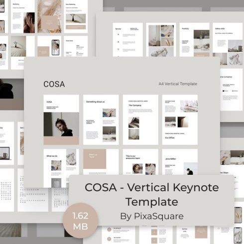 COSA - Vertical Keynote Template by MasterBundles.