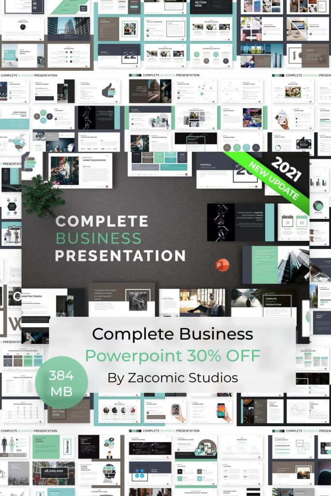 Complete Business Powerpoint Template by MasterBundles Pinterest Collage Image.