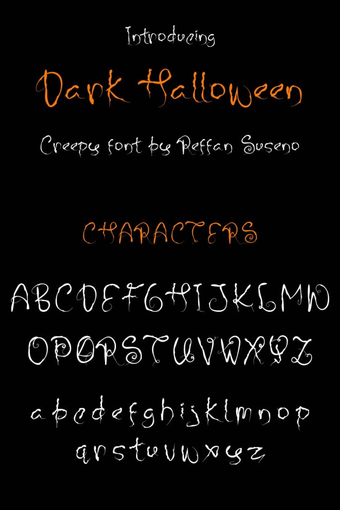 MasterBundles Characters Pinterest Preview for Dark Halloween - best free font halloween.