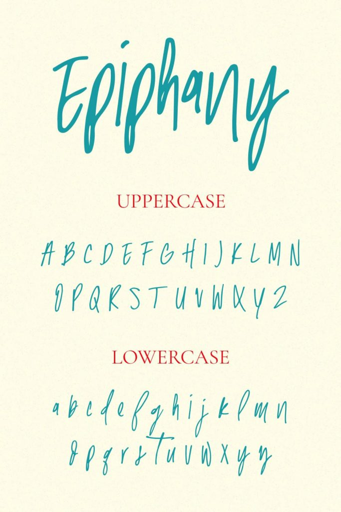 Pinterest Collage Image with Uppercase and Lowercase preview for Epiphany Handwriting Font by MasterBundles.
