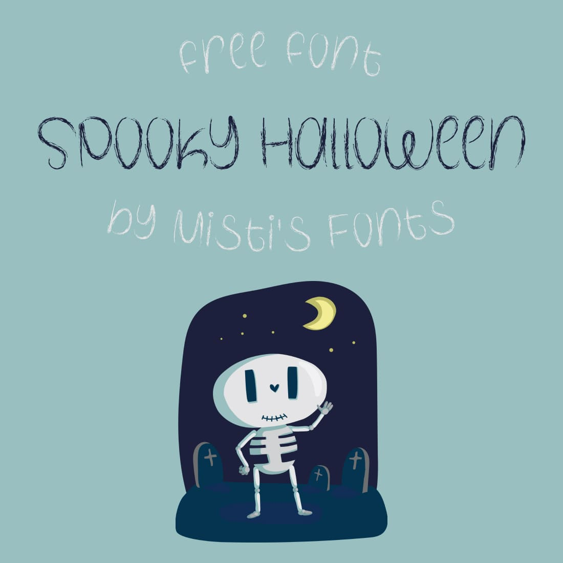Free Spooky Halloween Font Cute Cover Collage Image.