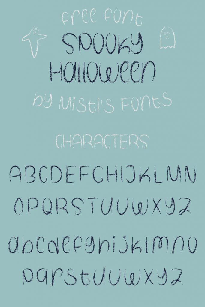 Pinterest Preview for Free Spooky Halloween Font Characters.