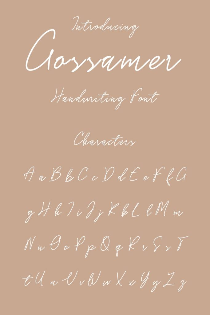 Pinterest Collage Image with Gossamer Handwriting Font Chracters Preview by MasterBundles.