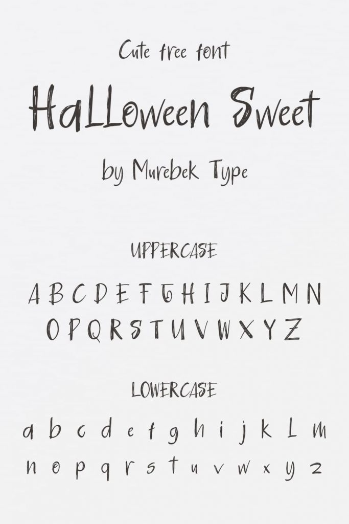Pinterest Collage Preview for Uppercase and Lowercase Halloween Sweet - cute free halloween font.