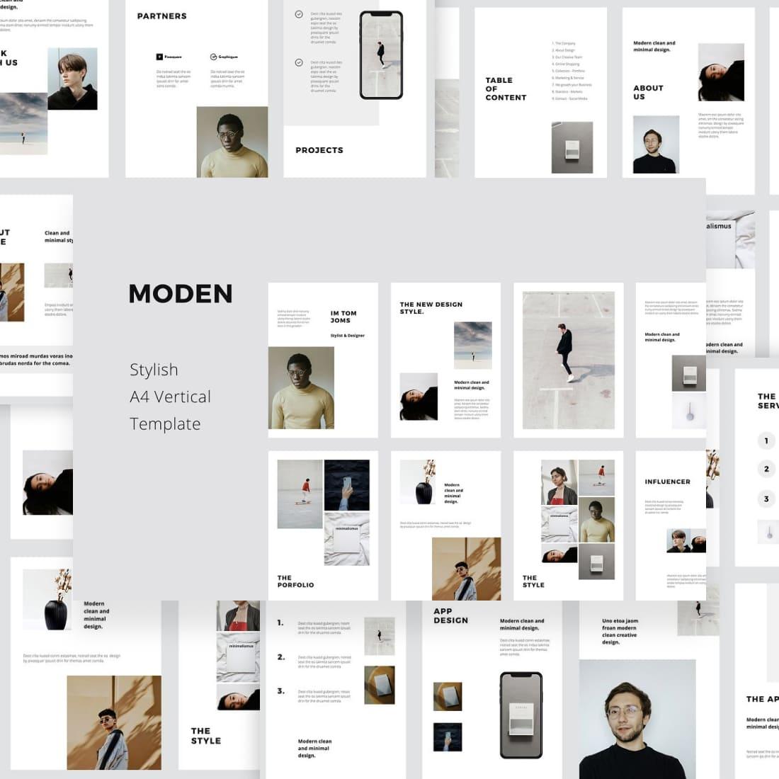 MODEN - Keynote A4 Vertical Template by MasterBundles.