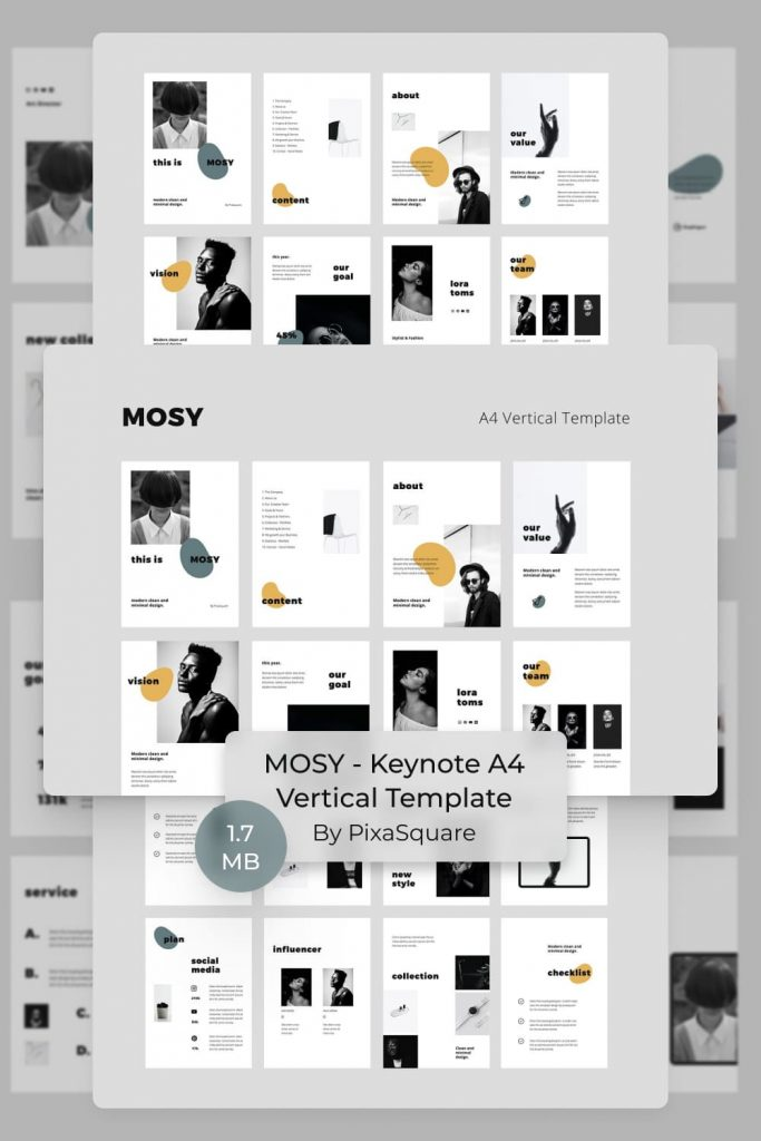 MOSY - Keynote A4 Vertical Template by MasterBundles Pinterest Collage Image.