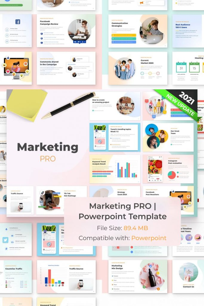 Marketing PRO Powerpoint Template by MasterBundles Pinterest Collage Image.