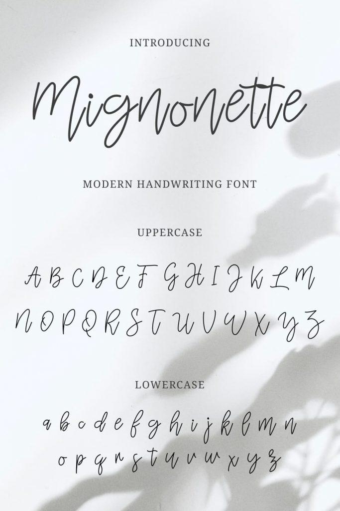 Pinterest Collage Image with Mignonette Handwriting Font Alphabet by MasterBundles.