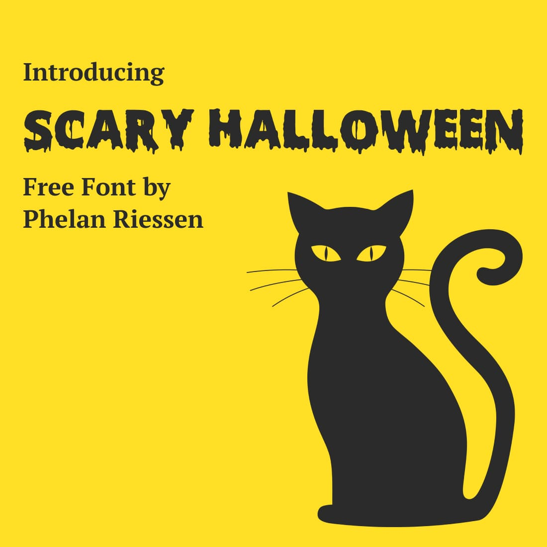 MasterBundles Scary Halloween font free Cover Image with Black Cat.