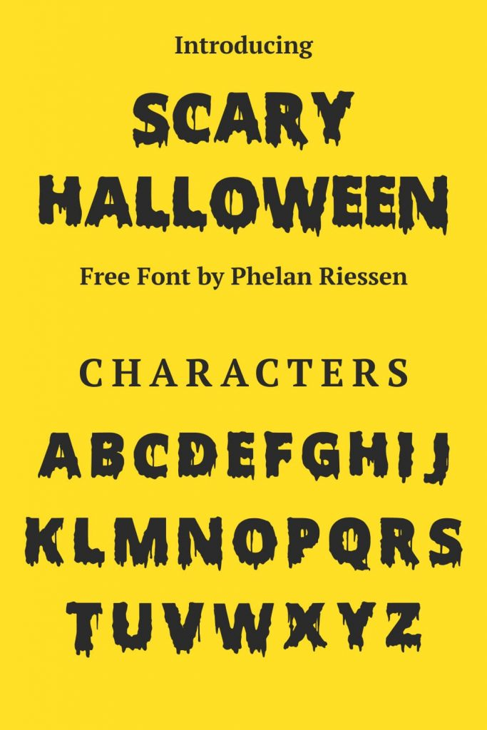 Pinterest Collage Image with Scary Halloween font free Characters by MasterBundles.